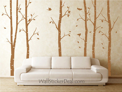 6 Birch mti With Flying Birds ukuta Sticker