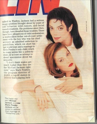 A Magazine Article Pertaing To Michael And First Wife, Lisa Marie Presley