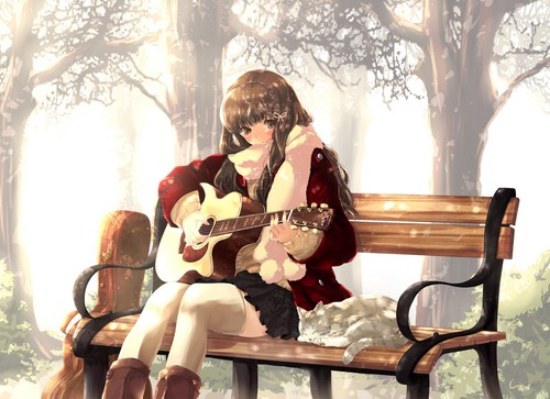 Аниме гитара girl