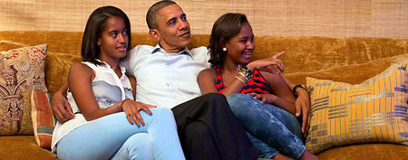Barack With His Two Daughters