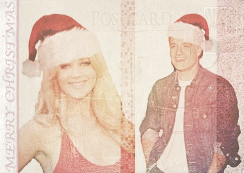 natal Postcard | Jennifer Lawrence & Josh Hutcherson