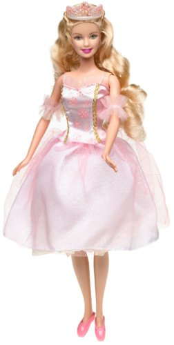 Barbie in the Nutcracker achtergrond probably containing a polonaise, a petticoat, and a gathered rok called Clara doll