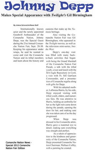 Johnny Depp images Comanche Nation News - pics and ... Johnny Depp/newspaper Articles