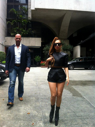 Gaga arriving in Porto Alegre