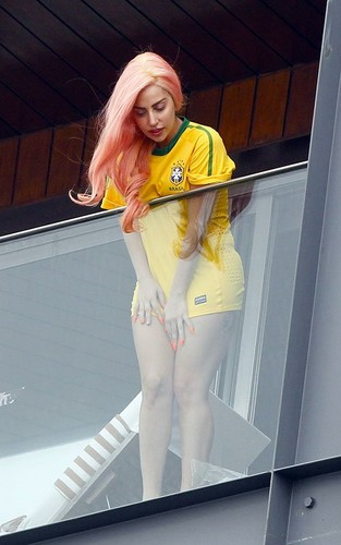 Gaga at her hotel in Rio