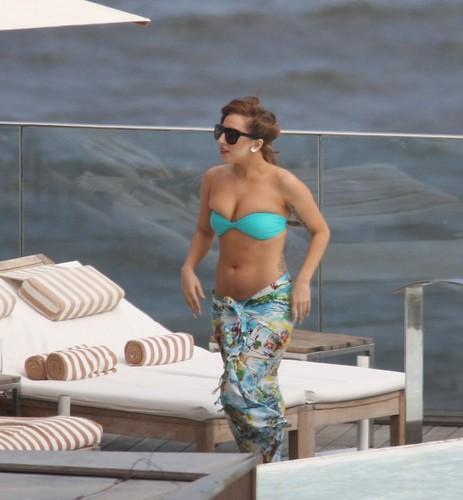 Gaga at the pool of her hotel in Rio (Nov. 7)