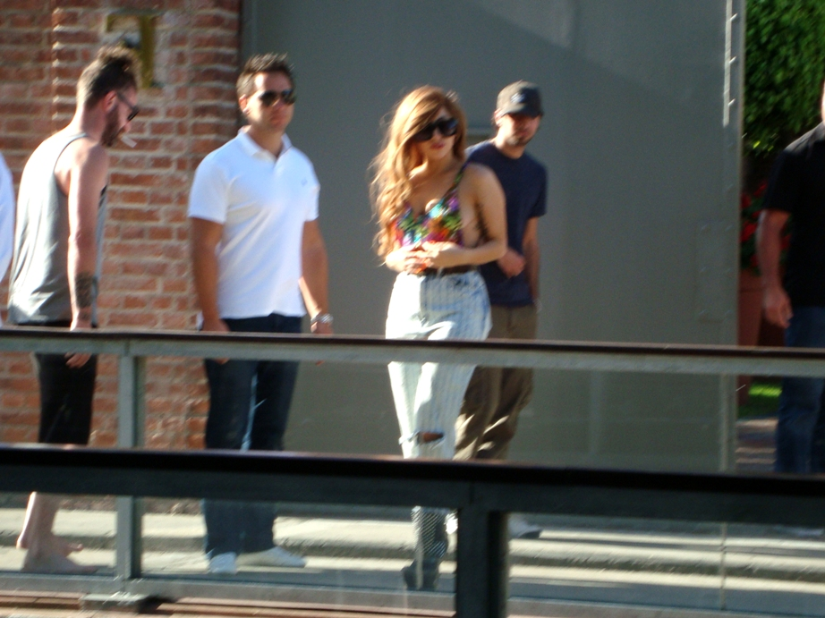 Gaga greeting fans at her hotel in Buenos Aires
