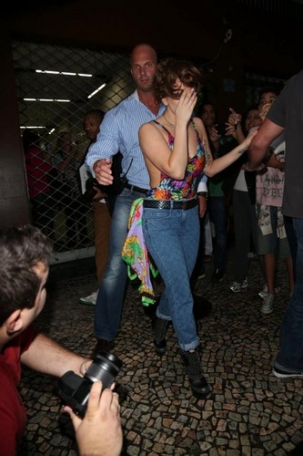 Gaga leaving a tattoo studio in Rio