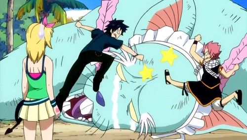 Gray and Natsu Beating Angelica