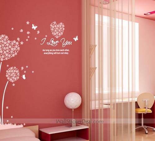 I Любовь Ты сердце Sharped цветок and бабочка Стена Decals