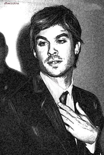 Ian Somerhalder virtual drawing B&W