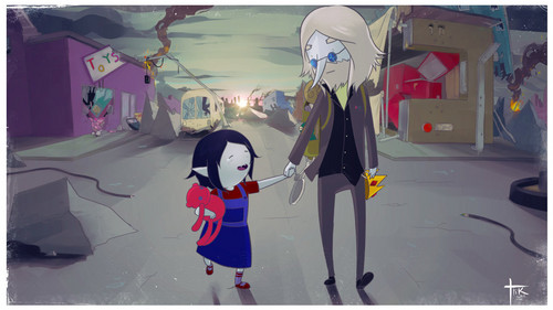 Ice King and Marceline walking together