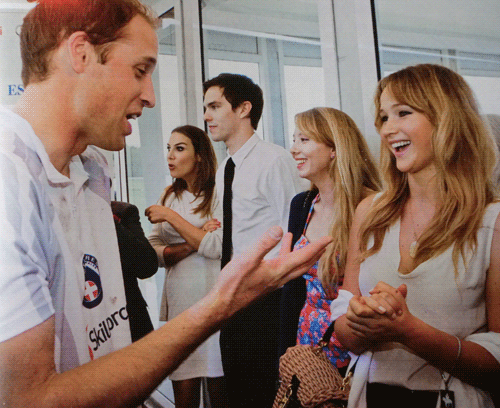 Jennifer Lawrence meeting Prince William