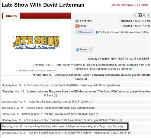 Josh Hutcherson will be on Late 显示 with David Letterman on November 20,2012