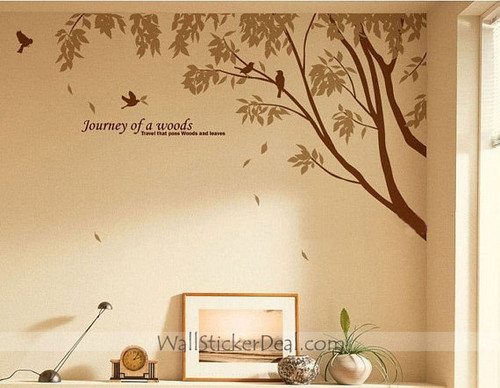 ہوم Decorating پیپر وال with a living room entitled Journey of A Woods - Branches with Birds دیوار Sticker