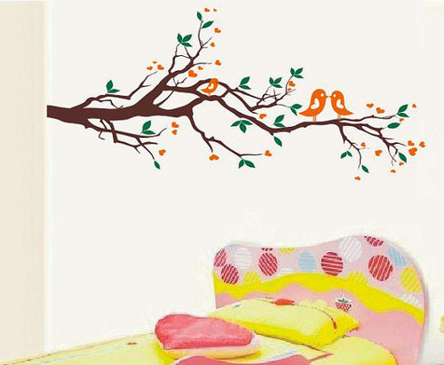 Kissing Birds Couple on Branches ukuta Sticker