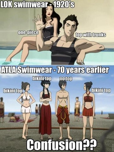 Avatar The Last Airbender kertas dinding called Legend of Korra vs. Avatar: The Last Airbender Round 1 Swimwear