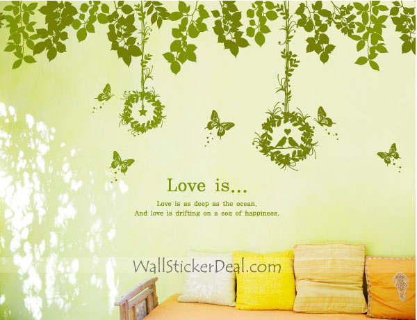 Love Is As Deep As Ocean Vines with Birds and Butterfly Wall Decals
