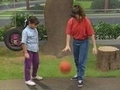 Luci & Tina playing basketball