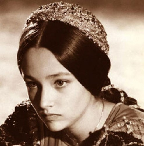 """Olivia Hussey in """"Juliet"""" Costume, deep in thought"""