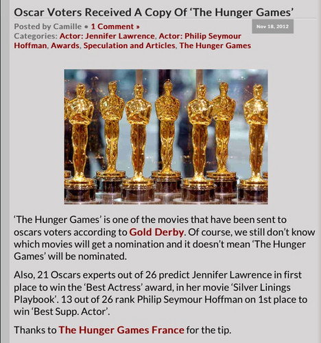 Oscar voters received a copy of 'The Hunger Games'