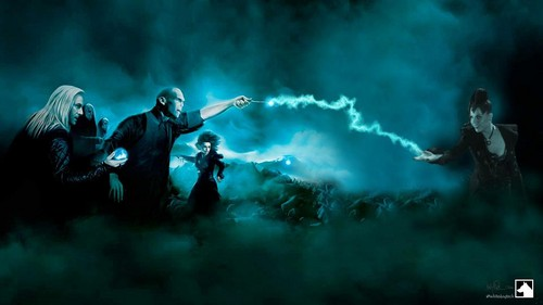 Once Upon a Time - Es war einmal... Hintergrund with a smoke screen and a feuer entitled Harry Potter villains vs Regina