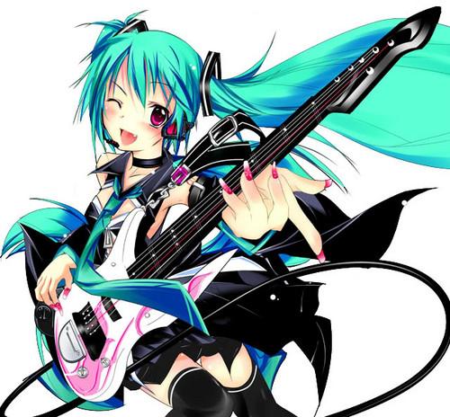 animê girl violão, guitarra