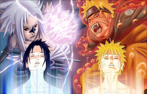 Fairy Tail vs. naruto wallpaper probably with a stained glass window, a fountain, and anime titled naruto and sasuke!