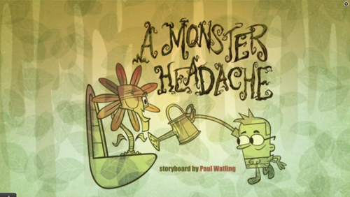"Cartoon Network's Sidekick wallpaper probably with a sign titled ""A monster headache"" titolo card"