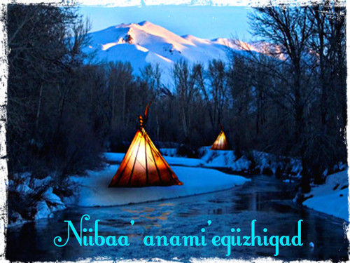 Krismas kertas dinding containing a tepee called ★ Niibaa' anami'egiizhigad ☆