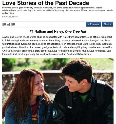 Naley wallpaper titled  TV's Top 50 Love Stories of the Past Decade- Naley #1