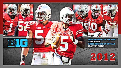 2012 B1G FOOTBALL AWARD WINNERS FOR THE OHIO STATE universidad