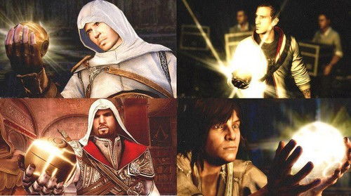 Altair, Ezio, Connor, Desmond And The appel, apple Of Eden