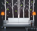 Autumn Birch Tree Forest and Flying Birds Wall Sticker - home-decorating photo