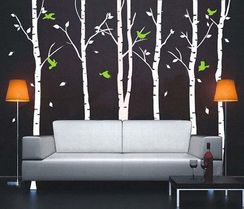 Autumn Birch Tree Forest and Flying Birds Wall Sticker