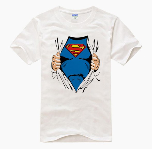 Brand NEW super-homem White short sleeve T camisa