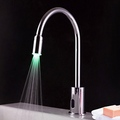 Contemporary Brass LED Sensor Bathroom Sink Faucet (Chrome Finish)