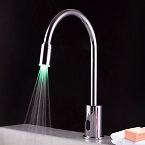 Faucets Images Contemporary Brass Led Sensor Bathroom Sink