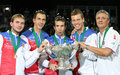 Czech team with trophy - tennis photo