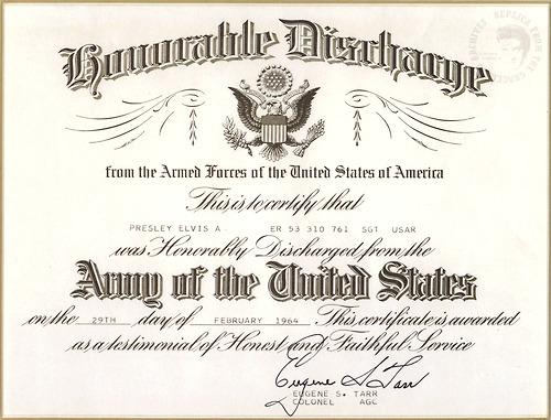 Elvis' Discharge Certificate