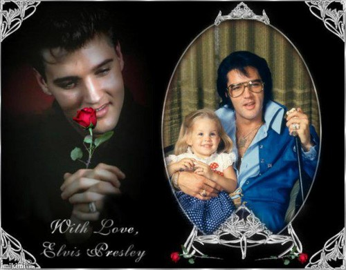 Elvis Aaron Presley and Lisa Marie Presley wallpaper titled Elvis & Lisa ♥