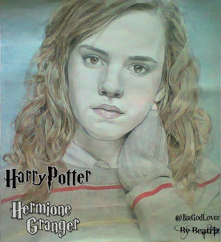 Daniel Radcliffe&Emma Watson achtergrond containing a portrait entitled Emma Watson-Hermione Granger Harry Potter Drawing