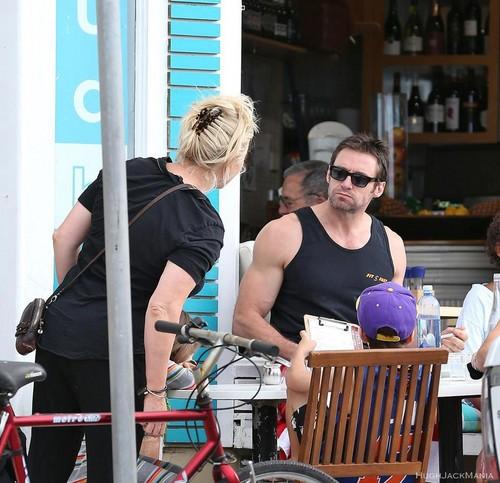 Hugh Jackman enjoys a big lunch in Sydney