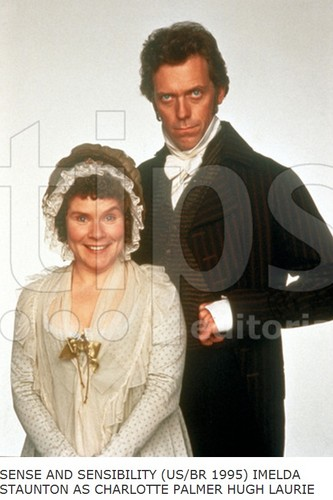 Hugh Laurie karatasi la kupamba ukuta probably containing a business suit, a well dressed person, and a portrait entitled Hugh Laurie and Imelda Staunton -1995