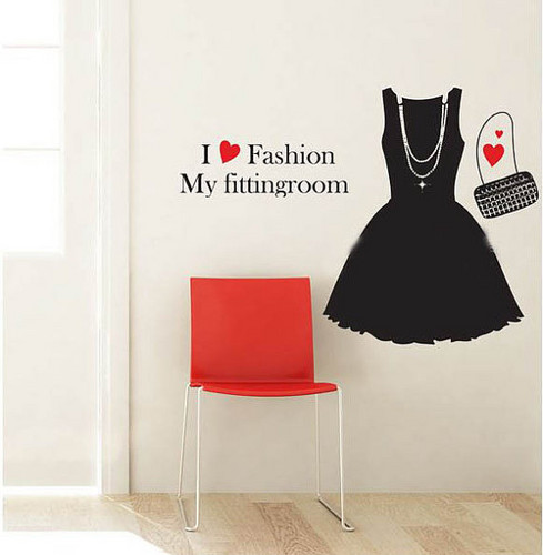 I Love Fashion My Fitting Room دیوار Sticker