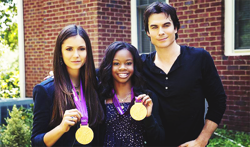 Ian and Nina with Gabby Douglas