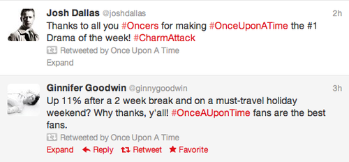 "Josh Dallas & Ginnifer Goodwin Tweets ""Thank You"""