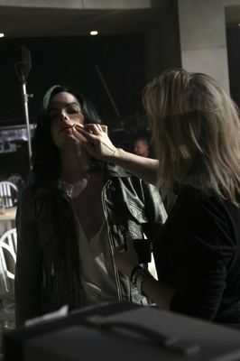 Karen Faye Applying Makeup On Michael's Face