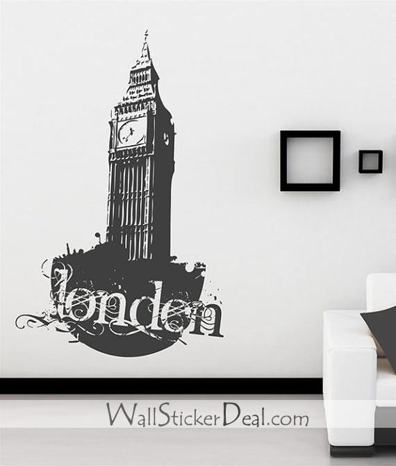 london Vintage Clock dinding Stickers