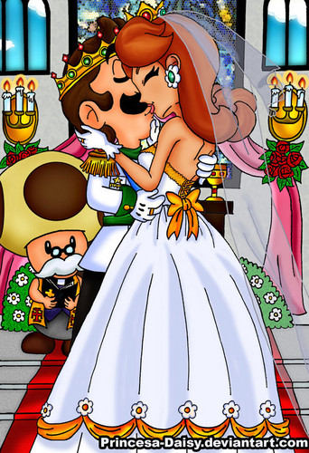 Super Mario Bros. wallpaper containing anime titled Luigi and Daisy wedding